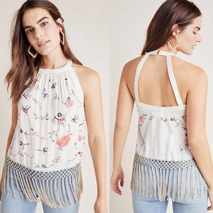 NEW Anthropologie Gatsby Top Embroidered Fringe 14